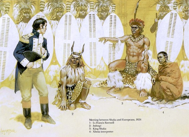 Meeting between Shaka and Europeans, 1824, by Angus McBride